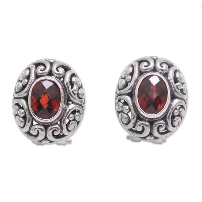 Garnet button earrings, 'Deep Allure' - Sterling Silver Faceted Garnet Button Earrings from Bali