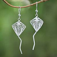 Sterling silver filigree earrings, 'Layangan' - Sterling Silver Filigree Openwork Kite Dangle Earrings