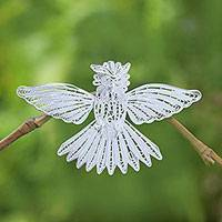 Sterling silver filigree brooch pin, 'Little Garuda' - Handcrafted Sterling Silver Garuda Filigree Bird Brooch
