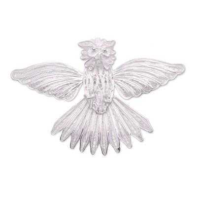 Handcrafted Sterling Silver Garuda Filigree Bird Brooch