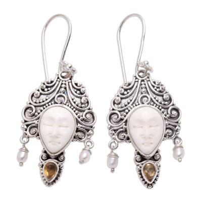 Citrine and cultured pearl dangle earrings, 'Jepun Janger' - Citrine and Cultured Pearl Dangle Earrings from Bali