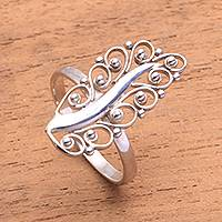 Sterling silver cocktail ring, 'Royal Leaf' - Sterling Silver Leaf Cocktail Ring from Bali