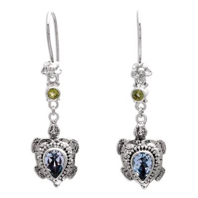 Blue topaz and peridot dangle earrings, 'Jepun Turtles' - Blue Topaz and Peridot Turtle Earrings from Bali