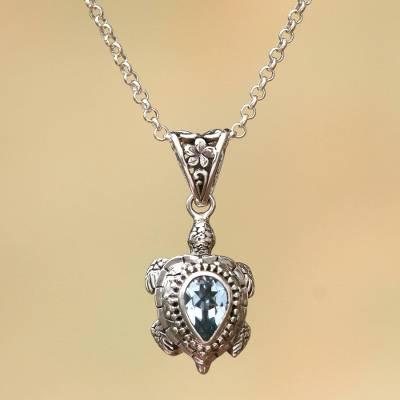Blue topaz pendant necklace, 'Jepun Turtle' - Blue Topaz Turtle Pendant Necklace from Bali