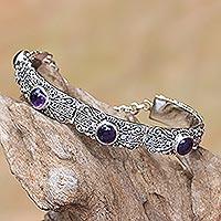 Amethyst link bracelet, 'Sukawati Wangi' - Amethyst and Sterling Silver Link Bracelet from Bali