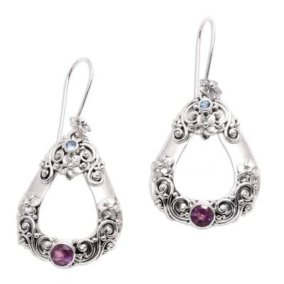 Amethyst and blue topaz dangle earrings, 'Jepun Regency' - Floral Amethyst and Blue Topaz Dangle Earrings from Bali