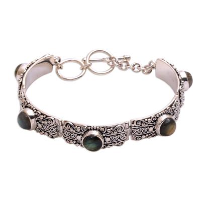 Labradorite link bracelet, 'Sukawati Wangi' - Labradorite and Sterling Silver Link Bracelet from Bali