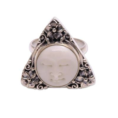 Sterling silver cocktail ring, 'Jepun Serenity' - Sterling Silver and Bone Floral Cocktail Ring from Bali