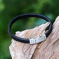 Leather wristband bracelet, 'Remember Good Times' - Unisex Braided Leather Wristband Bracelet from Bali