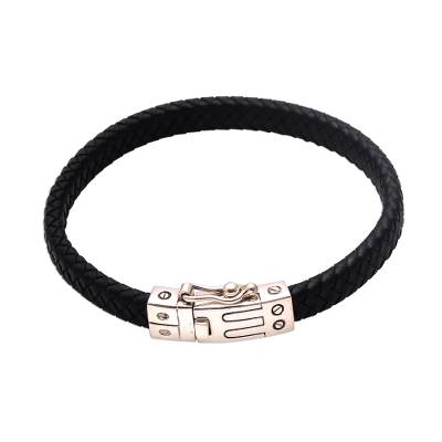 Leather braided wristband bracelet, 'Remember Good Times' - Unisex Braided Leather Wristband Bracelet from Bali