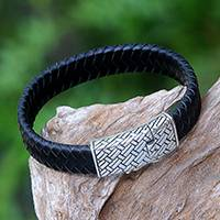 Men's leather wristband bracelet, 'Bedeg Style' - Men's Braided Leather Wristband Bracelet from Bali