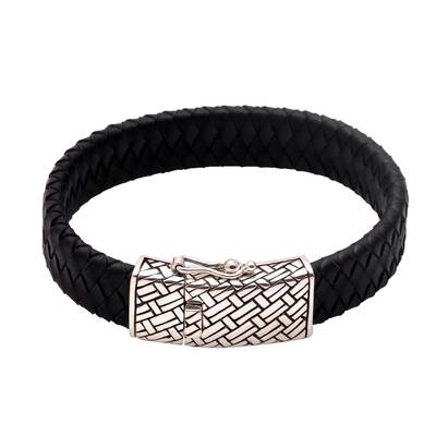 Men's leather braided wristband bracelet, 'Bedeg Style' - Men's Braided Leather Wristband Bracelet from Bali