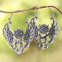 Sterling silver hoop earrings, 'Owl Majesty' - Sterling Silver Owl Hoop Earrings from Bali