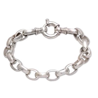 Men's sterling silver chain bracelet, 'Cager Links' - Men's Sterling Silver Chain Bracelet from Bali
