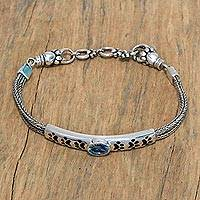 Featured review for Blue topaz pendant bracelet, Paw Power