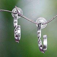 Sterling silver half-hoop earrings, 'Paw Line' - Animal-Themed Sterling Silver Half-Hoop Earrings from Bali