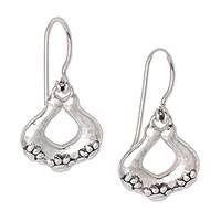 Sterling silver dangle earrings, 'Hopeful Paws' - Sterling Silver Paw Motif Dangle Earrings from Bali