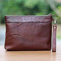Leather wristlet, 'Jogja Guardian in Mahogany' - Handmade Mahogany Brown Leather Wristlet with Pockets