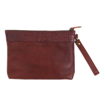 Handmade Mahogany Brown Leather Wristlet with Pockets