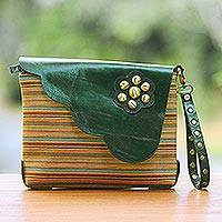 Leather accent cotton wristlet, 'Linear Landscape in Green' - Multi-Color Striped Cotton Wristlet with Green Leather Flap
