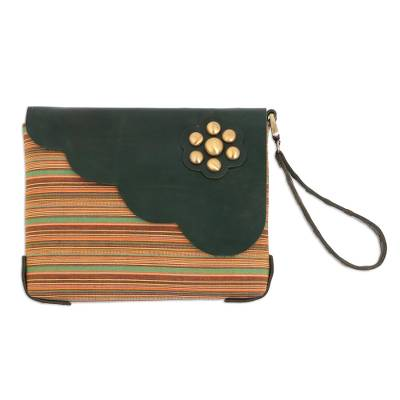 Multi-Color Striped Cotton Wristlet with Green Leather Flap
