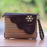 Leather accent cotton wristlet, 'Linear Landscape in Brown' - Multi-Color Striped Cotton Wristlet with Brown Leather Flap