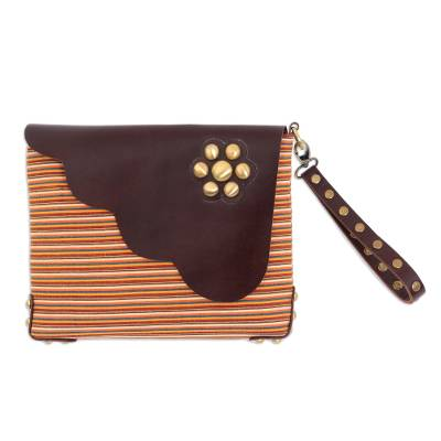 Multi-Color Striped Cotton Wristlet with Brown Leather Flap