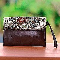 Leather and batik cotton wristlet, 'Petite Parang' - Brown Leather Wristlet with Cotton Batik Flap