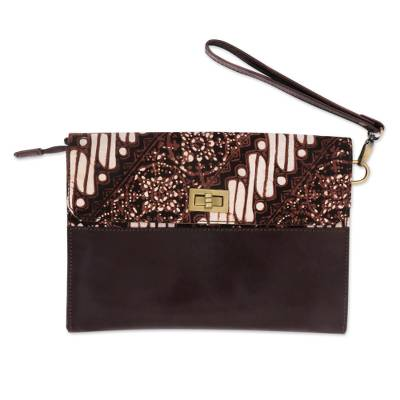 Leather and Cotton Wristlet with Parang Motifs in Brown