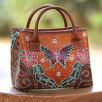 Leather batik handbag, 'Magnificent Monarch' - Hand Painted Butterfly and Flowers Brown Leather Handbag