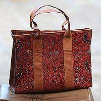 Batik leather handle handbag, 'Sidomukti Majesty' - Leather Handle Handbag with Batik Motifs from Java