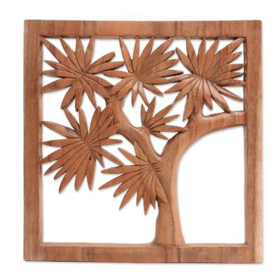 Wood relief panel, 'Greenery View' - Hand-Carved Balinese Tree Relief Panel in Suar Wood