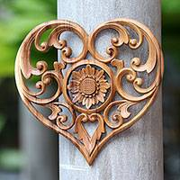 Wood relief panel, 'Lotus Love' - Hand-Carved Heart and Lotus Flower Wood Relief Panel