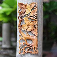 Wood relief panel, 'Hibiscus Branch' - Hand-Carved Rectangular Hibiscus Relief Panel for the Wall