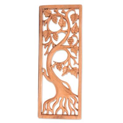 Wood relief panel, 'Ripening Grapes' - Hand-Carved Suar Wood Grapevine Ornate Relief Panel