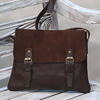 Leather messenger bag, 'Espresso Sophistication' - Handcrafted Leather Messenger Bag in Espresso from Java