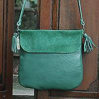 Leather sling, 'Teal Dancer' - Handcrafted Leather Sling in Teal from Java