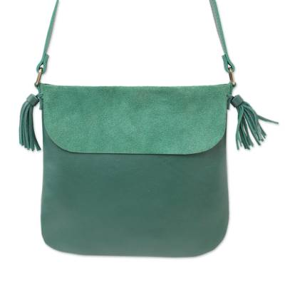 Handcrafted Leather Sling in Teal from Java
