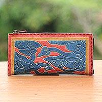 Leather wallet, 'Mystic Mendung' - Red Orange and Blue Cloudy Mendung Leather Wallet