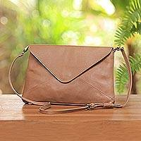 Leather sling, 'Latte Envelope' - Adjustable Strap Leather Sling Handbag from Indonesia