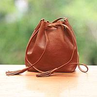 Leather bucket bag, 'Cognac Traveler' - Handcrafted Leather Bucket Bag Handbag from Indonesia