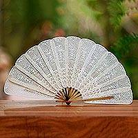 Leather fan, 'Srikandi's Image' - Artisan Crafted Cream Leather Fan with Srikandi Likeness
