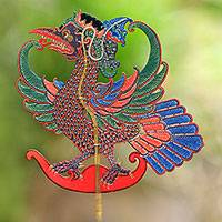 Leather shadow puppet, 'Majestic Jatayu' - Handcrafted Jatayu Bird Hand-Painted Leather Shadow Puppet