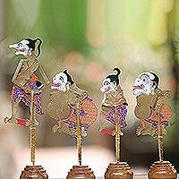 Leather shadow puppets, 'The Punokawans in Gold' (set of 4) - Colorful Punokawan Leather Shadow Puppets (Set of 4)