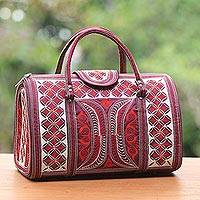 Cotton handle handbag, 'Banda Aceh' - Red and White Handwoven Embroidered Cotton Handbag