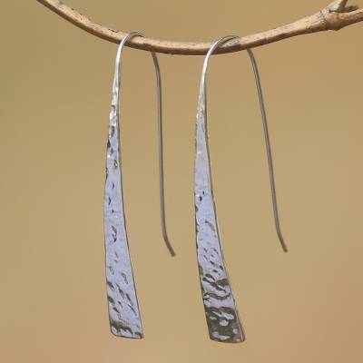 Sterling silver drop earrings, 'Glistening Tide' - Gleaming Sterling Silver Drop Earrings from Bali