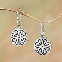 Sterling silver dangle earrings, 'Lovely Medallions' - Circular Sterling Silver Dangle Earrings from Bali