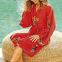Rayon robe, 'Black Floral' - Crimson Rayon Robe with Black Floral Motifs from Bali