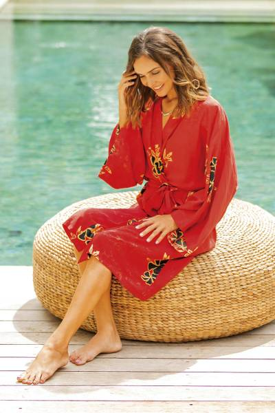 Rayon robe, 'Crimson Floral' - Crimson Rayon Robe with Black Floral Motifs from Bali
