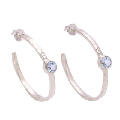 Blue topaz half-hoop earrings, 'Pretty Paradox' - Sterling Silver Hammered Blue Topaz Half-Hoop Earrings